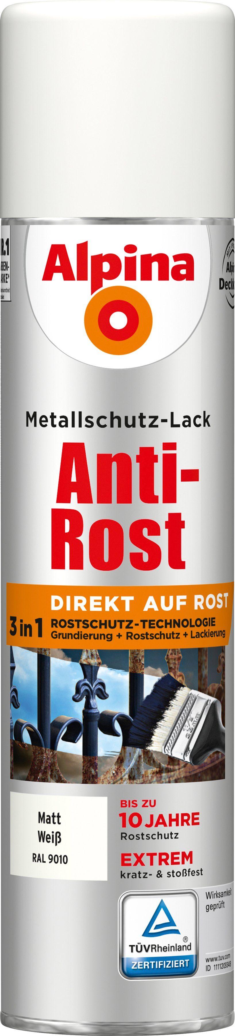 ALPINA Metallschutzlack »Anti-Rost Spray - Matt Weiß«, 3 in1, 400 ml