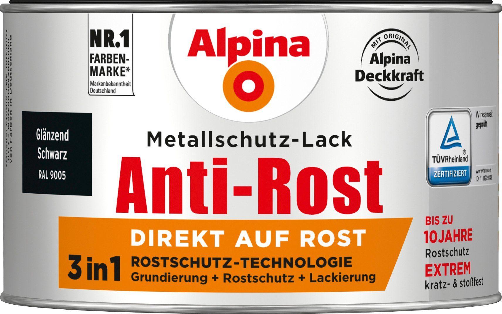 ALPINA Metallschutzlack »Anti-Rost - Glänzend Schwarz«, 3 in1, 300 ml