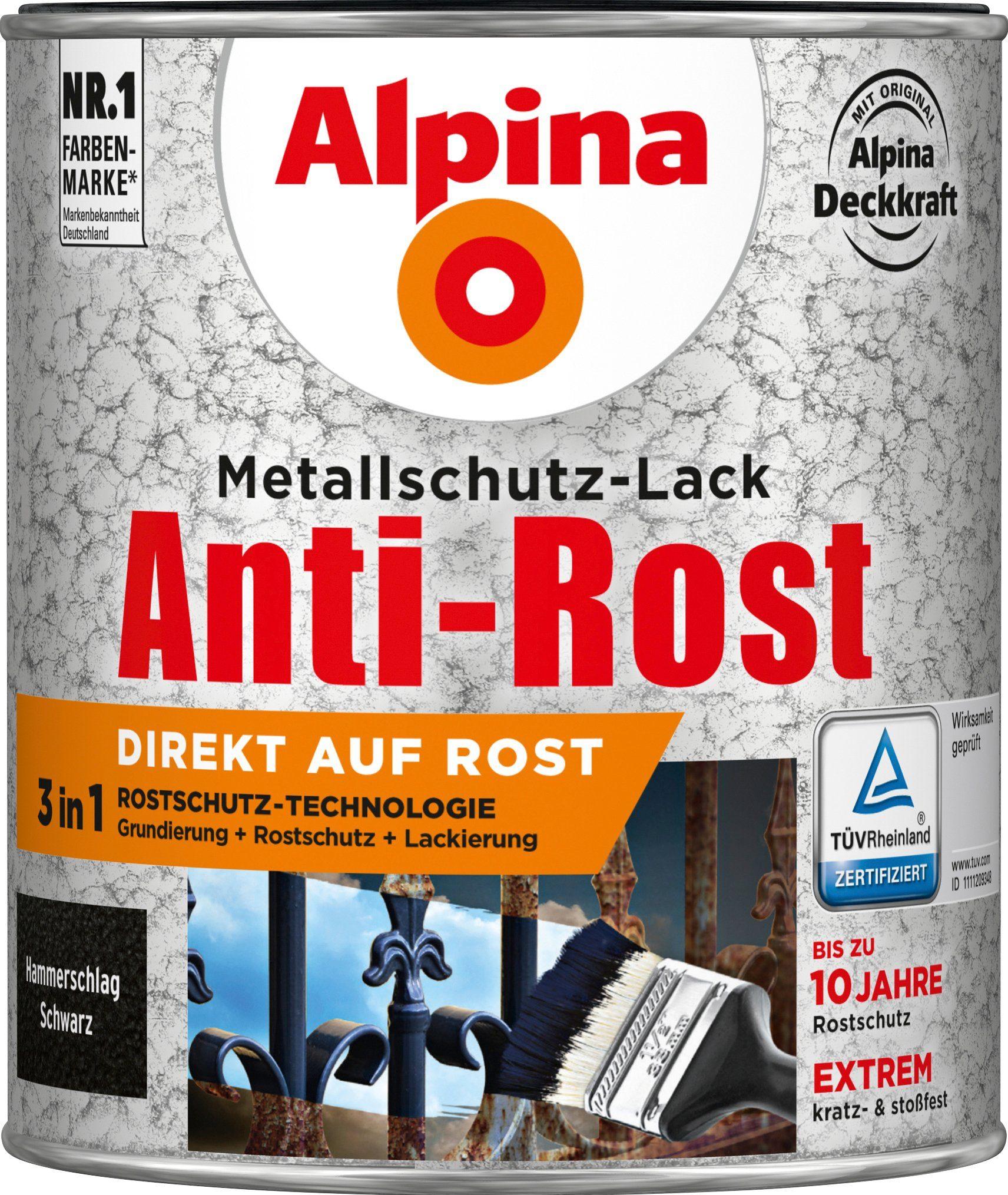 ALPINA Metallschutzlack »Anti-Rost Hammerschlag«, Schwarz, 750 ml