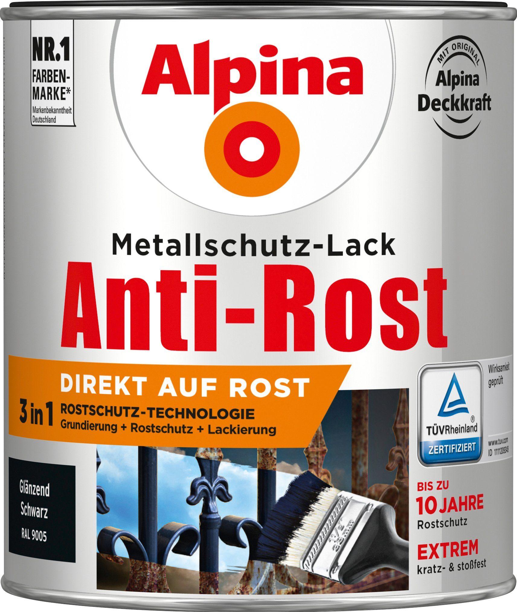 ALPINA Metallschutzlack »Anti-Rost - Glänzend Schwarz«, 3in1, 750 ml