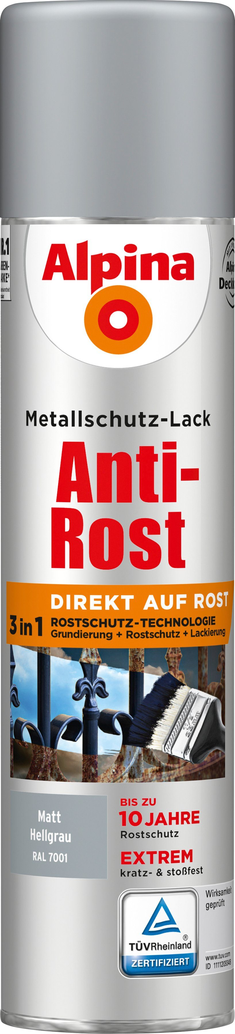 ALPINA Metallschutzlack »Anti-Rost Spray - Matt Hellgrau«, 3 in1, 400 ml