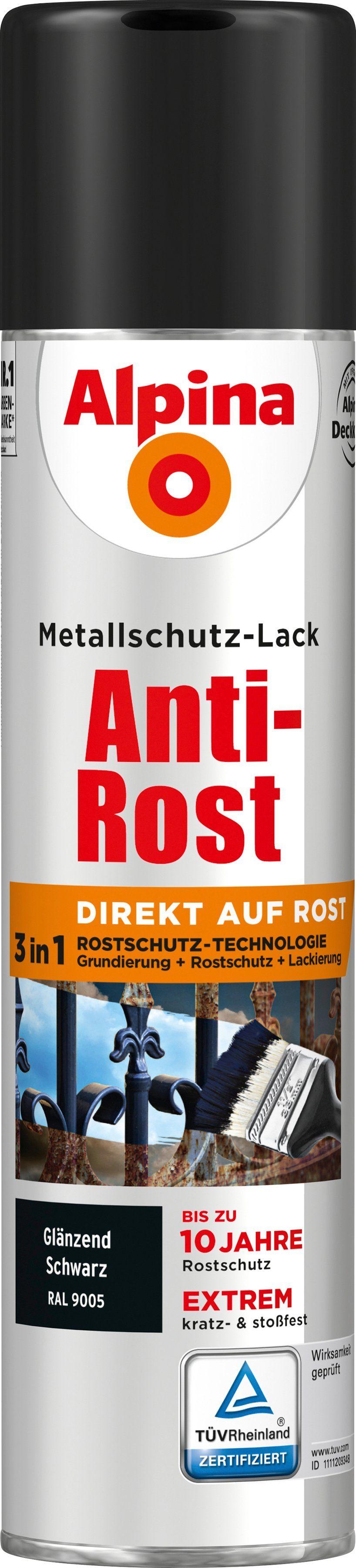 ALPINA Metallschutzlack »Anti-Rost Spray«, 3in1, schwarz glänzend 400 ml