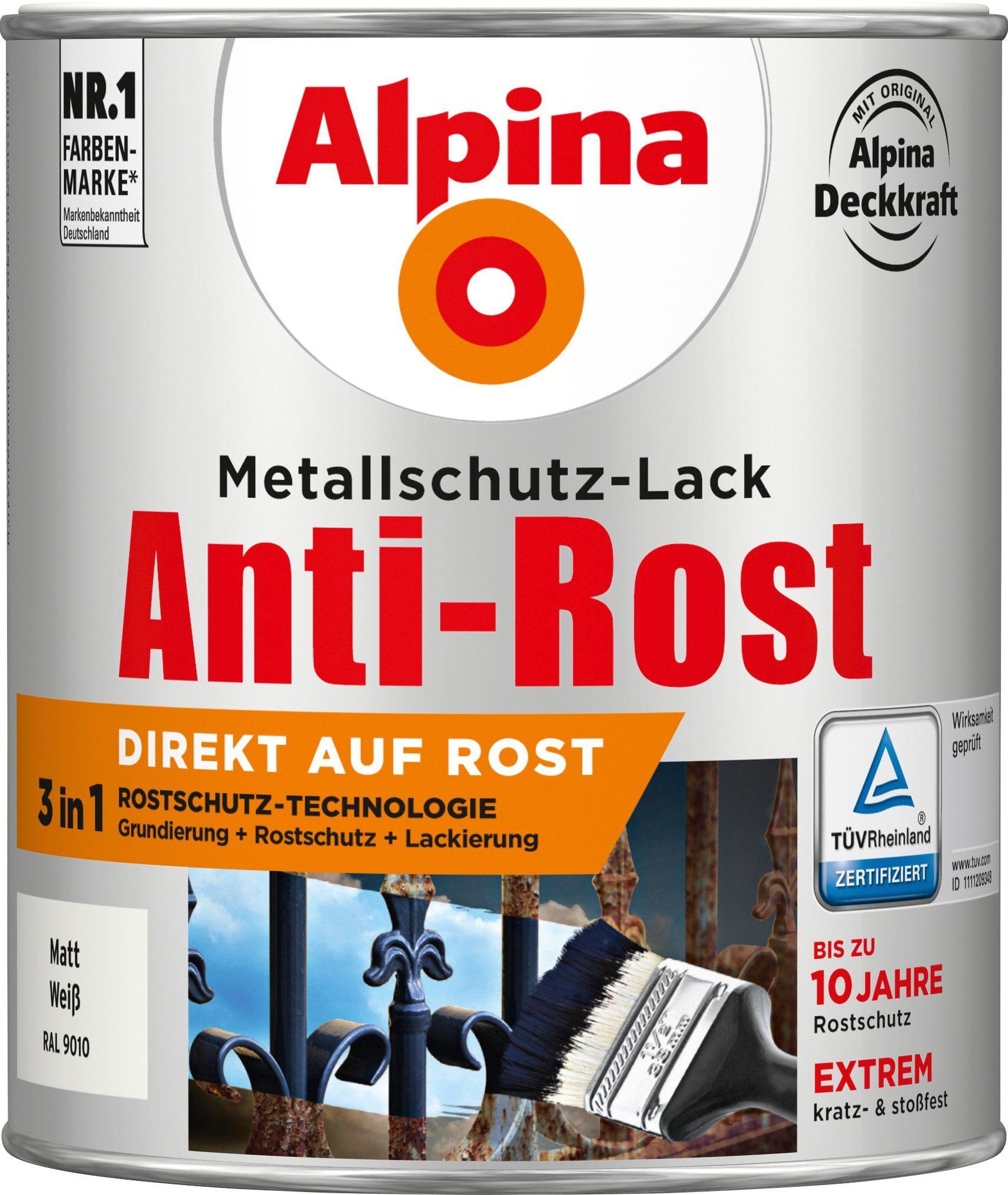 ALPINA Metallschutzlack »Anti-Rost Matt«, Weiß matt 750 ml