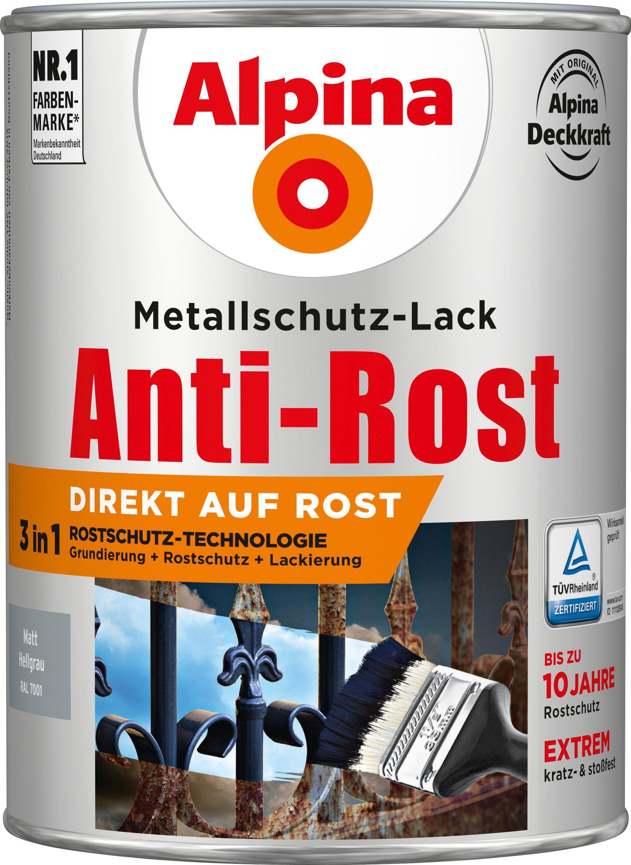 ALPINA Metallschutzlack »Anti-Rost Matt«, Hellgrau matt 2,5 l