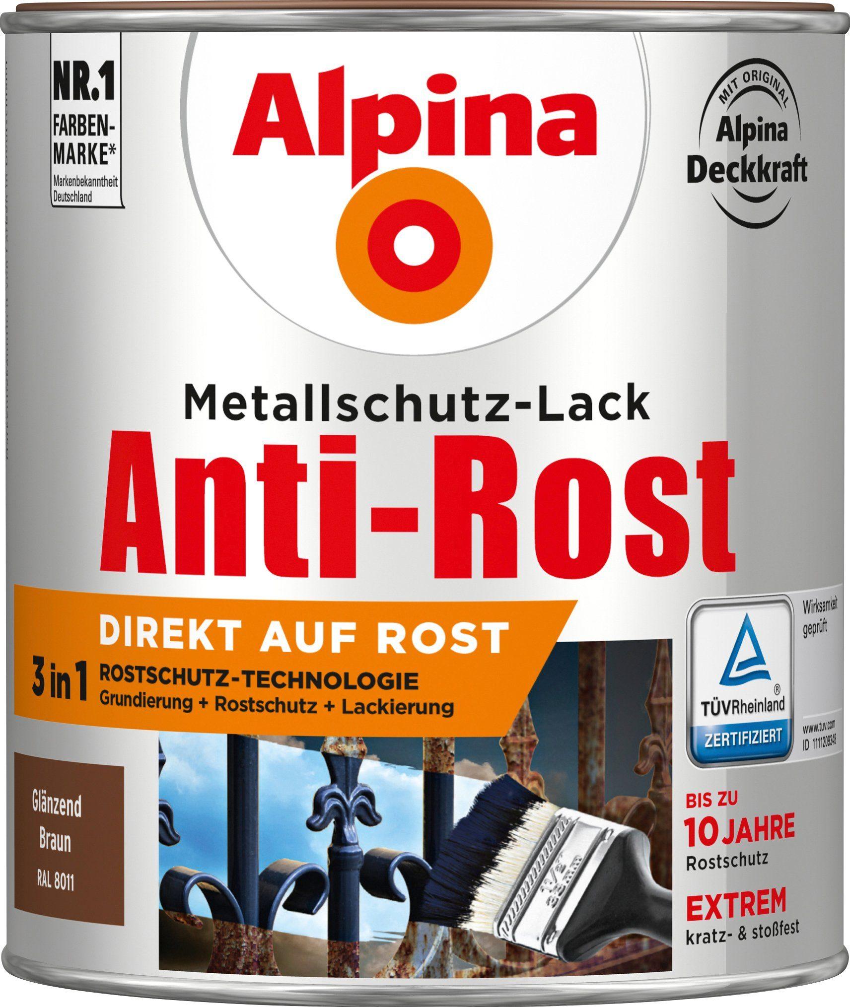 ALPINA Metallschutzlack »Anti-Rost - Glänzend Braun«, 3 in1, 750 ml