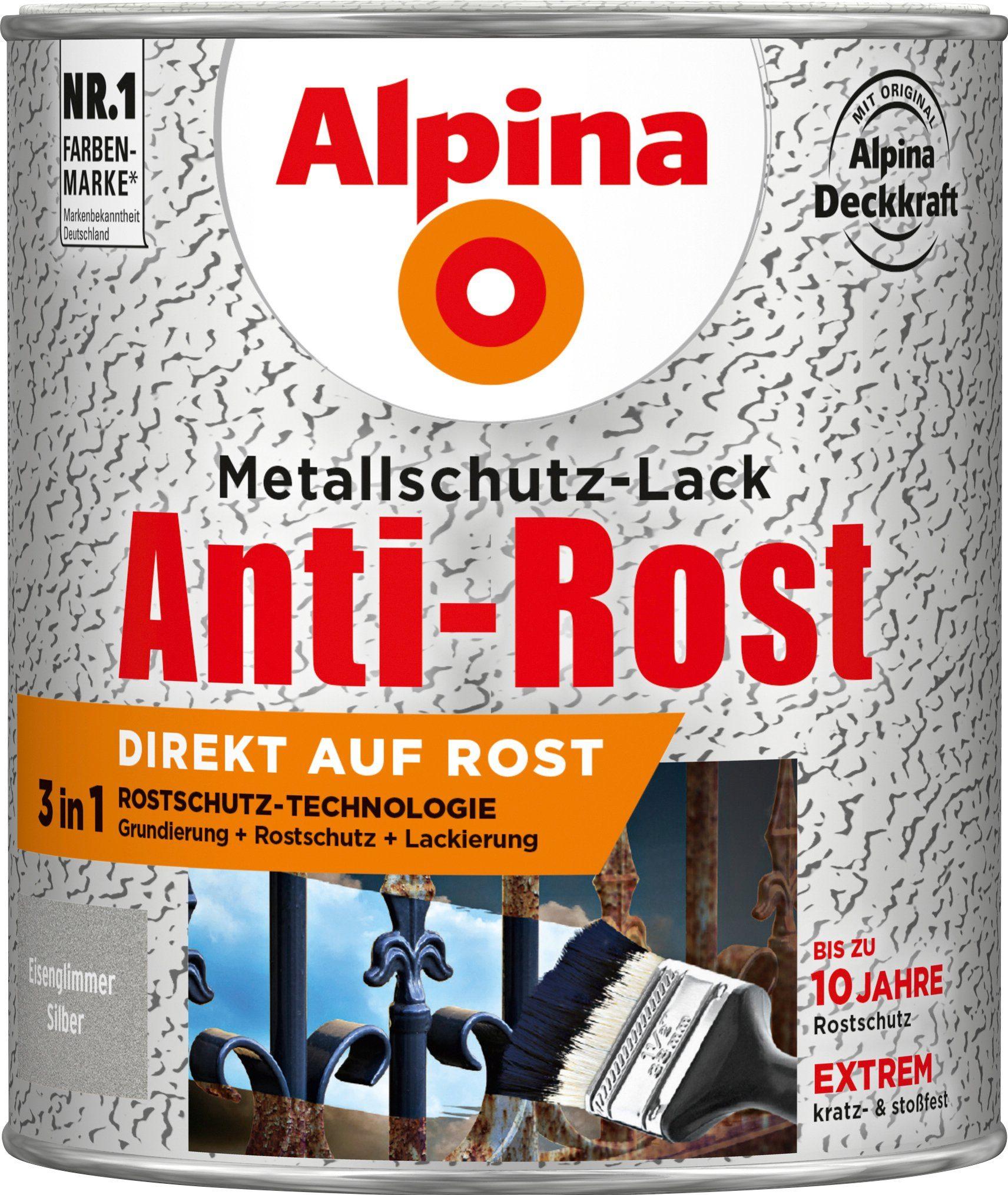 ALPINA Metallschutzlack »Anti-Rost«, 3in1, silber Eisenglimmer 750 ml