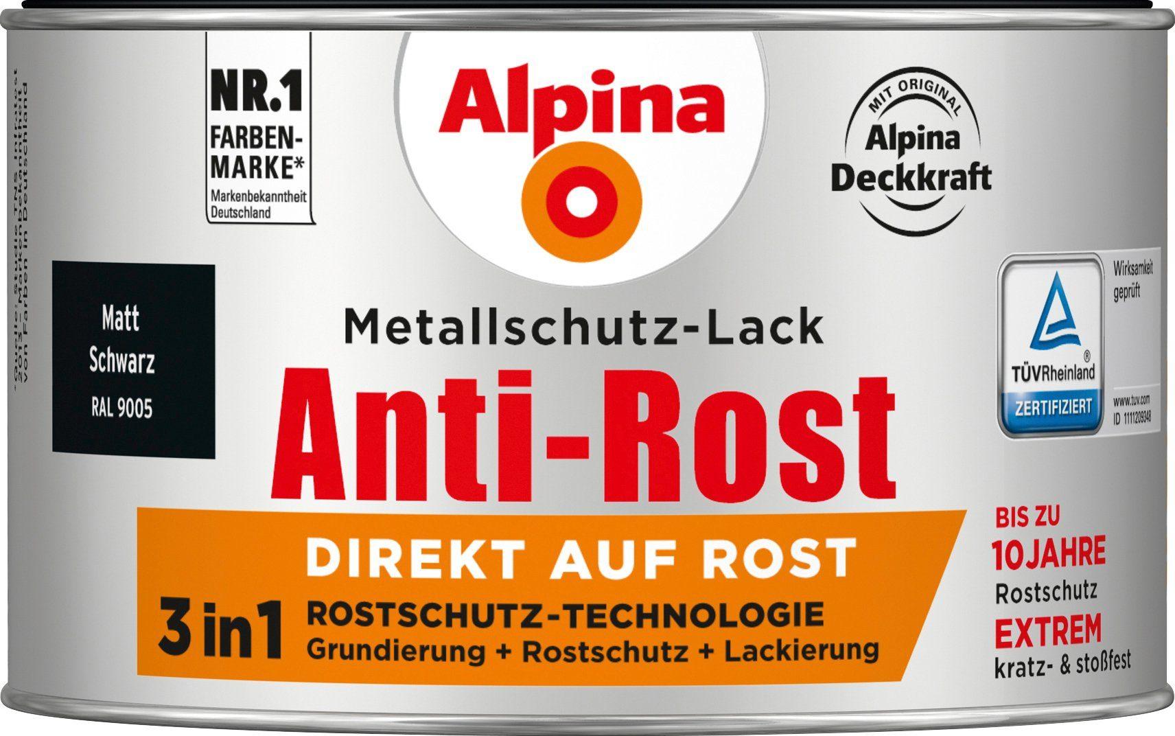 ALPINA Metallschutzlack »Anti-Rost - Matt Schwarz«, 3in1, 300 ml