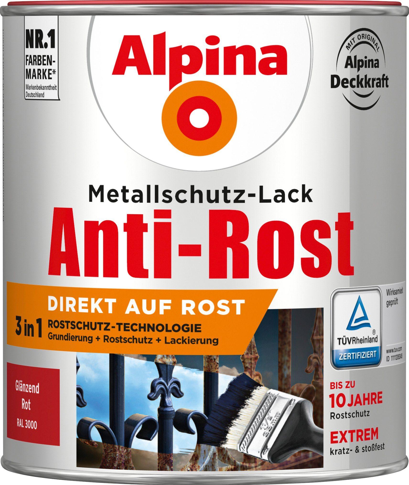 ALPINA Metallschutzlack »Anti-Rost - Glänzend Rot«, 3in1, 750 ml