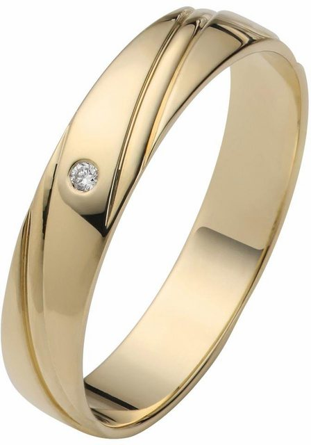 Firetti Trauring mit Gravur »4,0 mm, glanz, Diamantschnitt, Gelbgold«, wahlweise mit oder ohne Brillant   Schmuck > Ringe > Trauringe   Firetti