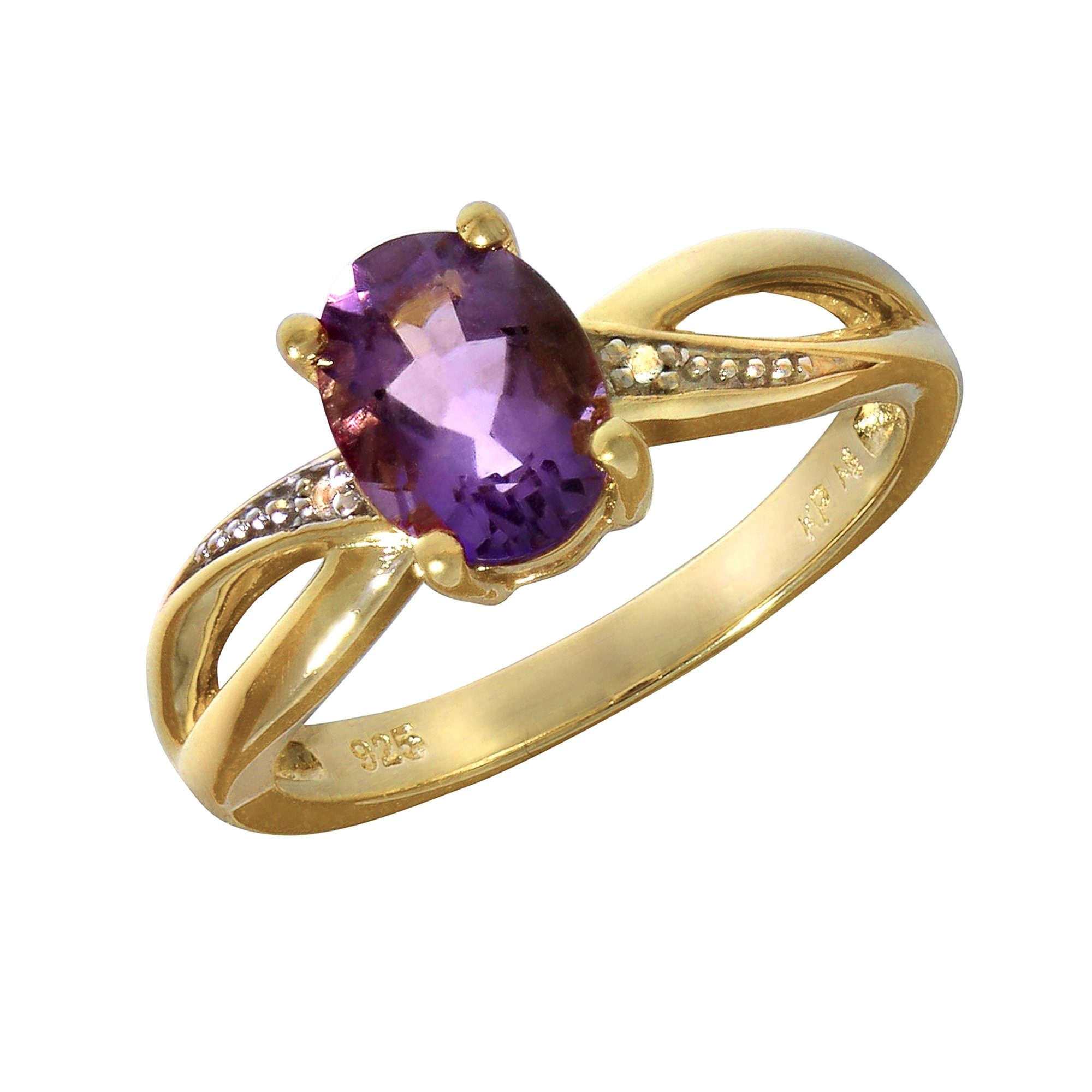VIVANCE Ring »925/- Sterling Silber vergoldet Amethyst«