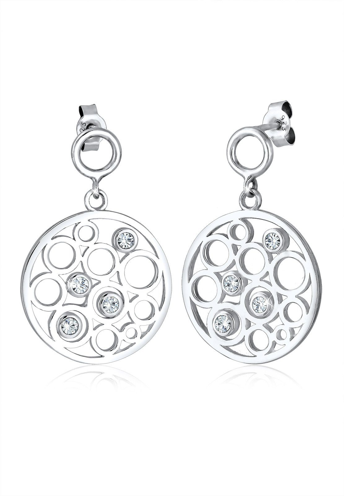 Elli Ohrringe »Kreis Funkelnd Swarovski® Kristalle 925 Silber«