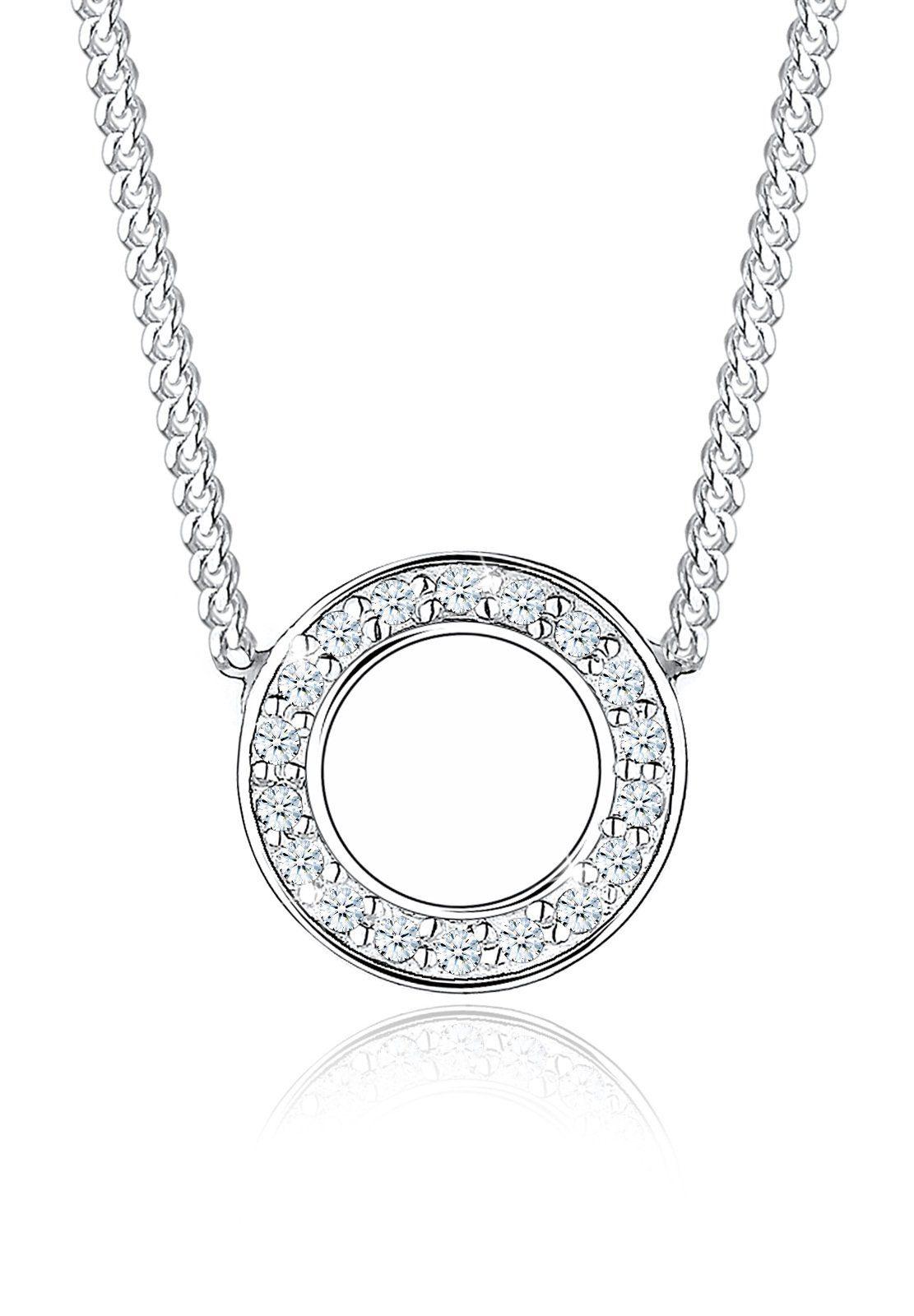 Diamore Halskette »925 Sterling Silber Kreis Diamant«