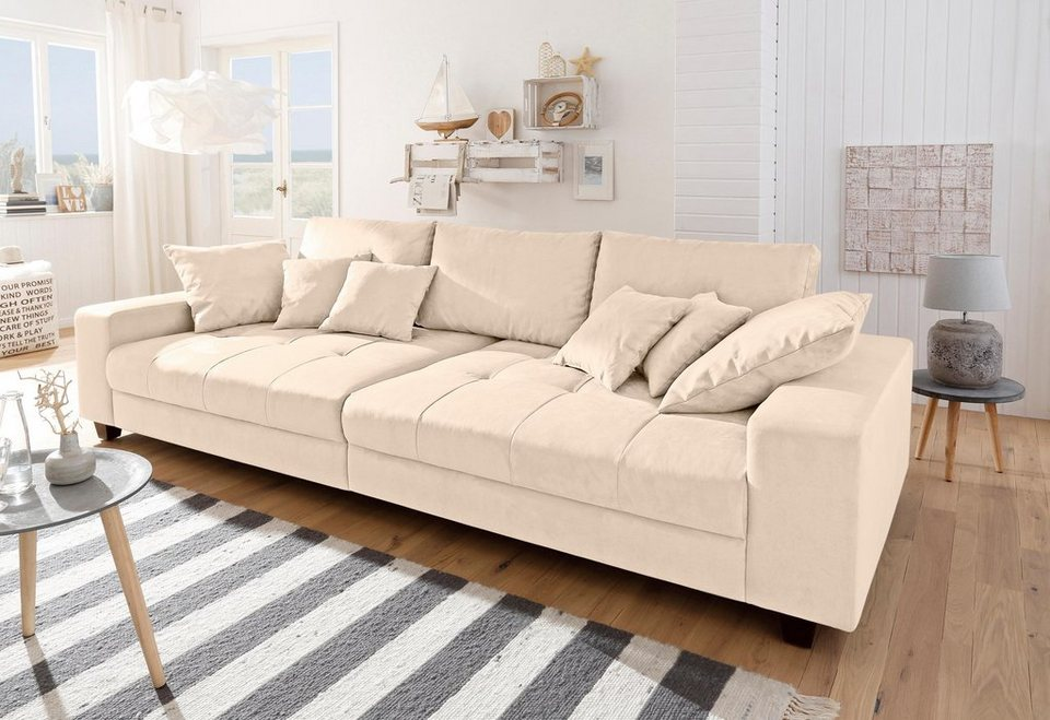 Home affaire Big-Sofa »Greenwich«, unifarben, mit feiner Steppung ...