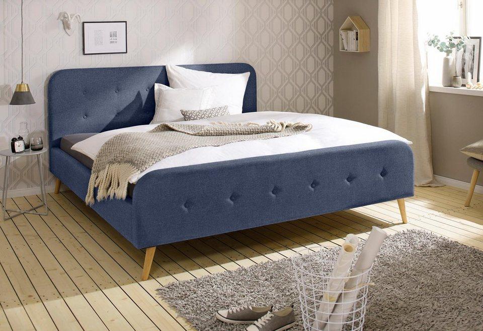 home affaire polsterbett amrum mit aufwendiger knopfleistung am gepolstertem kopf und fu teil. Black Bedroom Furniture Sets. Home Design Ideas