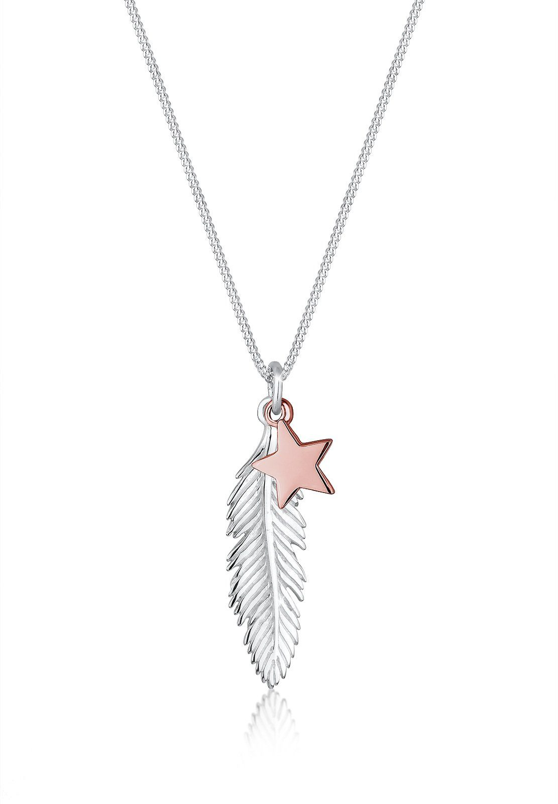 Elli Halskette »Feder Stern Bi-Color 925 Sterling Silber Bianka«