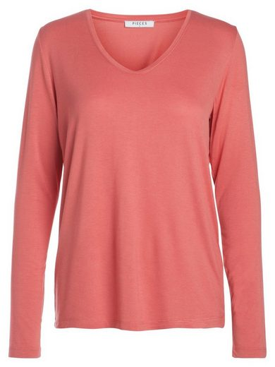 Pieces Robust Long Sleeve Blouse With Round Neck