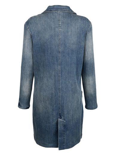 Alba Moda Lange Jeansjacke in modischer Waschung