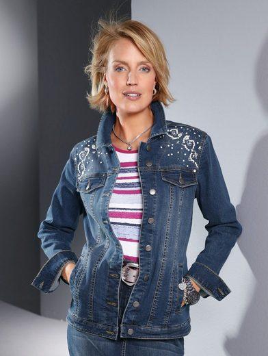 Paola Jeansjacke mit Steinchen-und Plättchenverzierung