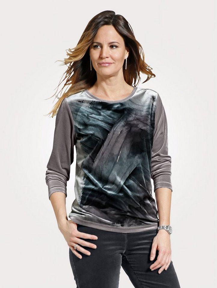 Damen Mona Shirt aus weicher Samt-Qualität grau   04055715374515