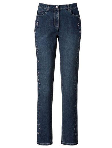 Mona Jeans mit Blumenstickerei