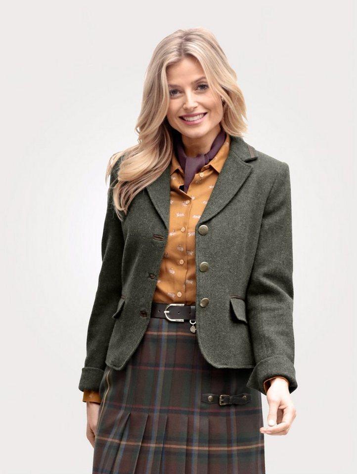 Damen Mona Blazer mit Knöpfen mit Igelmotiv grün   04055715345652