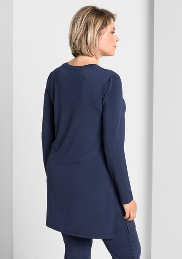 Sheego Style Long Shirt, Side Slits With