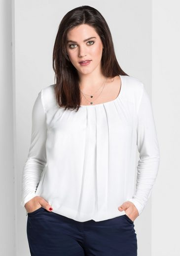 sheego Style Langarmshirt, mit Chiffon