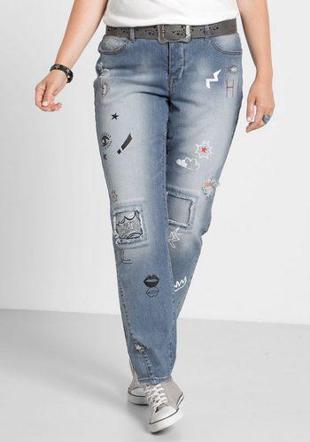 Damen,Kinder,Jungen sheego Denim Stretch-Jeans in Boyfriend Form blau | 04054697947977