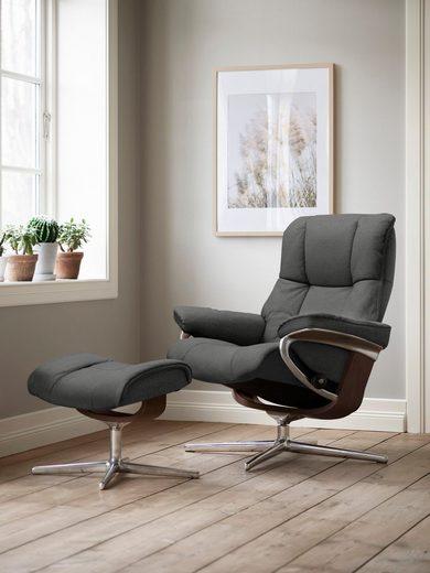 Stressless® Relaxsessel »Mayfair« (Set, Relaxsessel mit Hocker), mit Hocker, mit Cross Base, Größe S, M & L, Gestell Braun