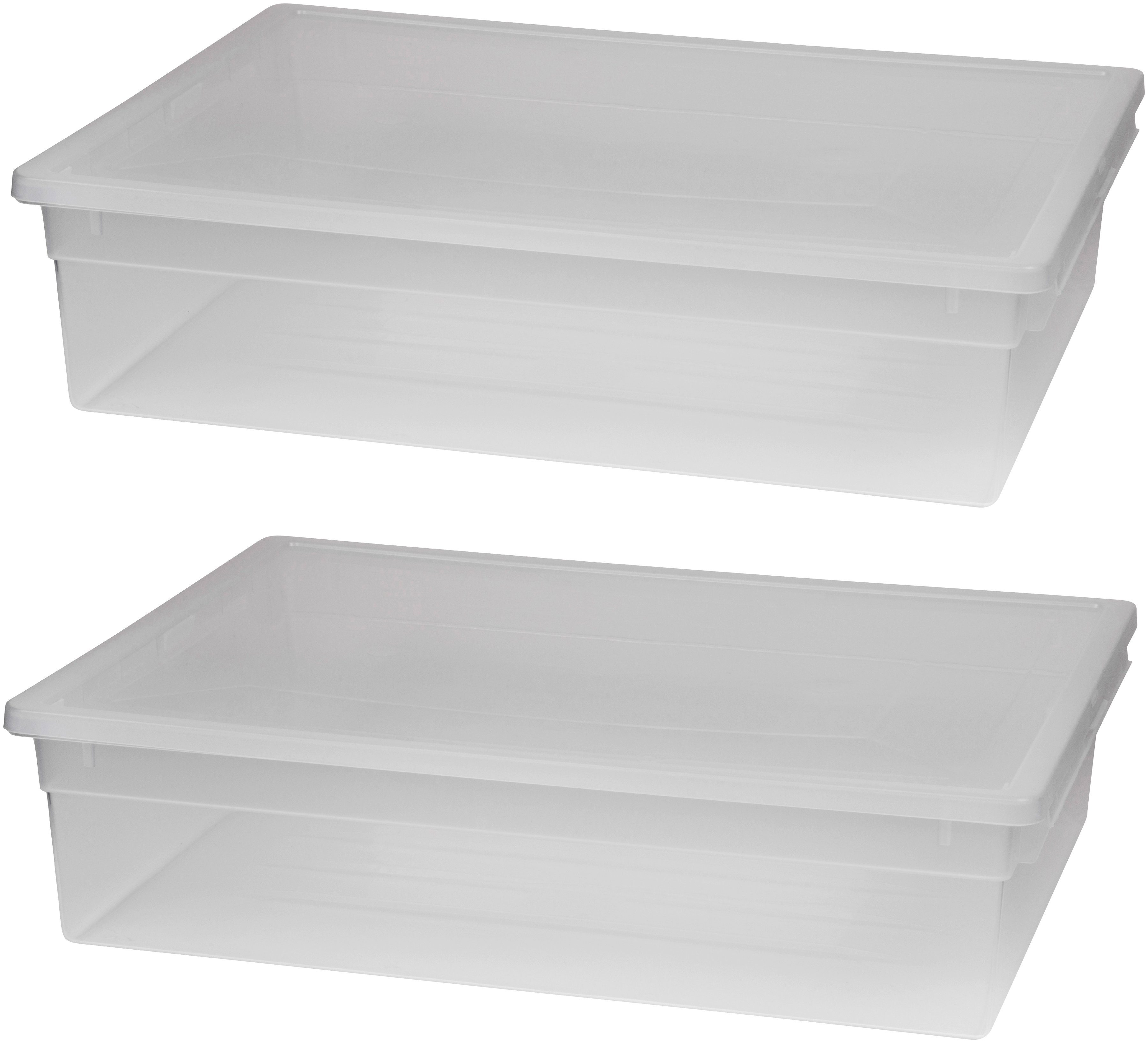 KREHER Aufbewahrungsbox »2x 36 Liter, mit Deckel« 2er Set