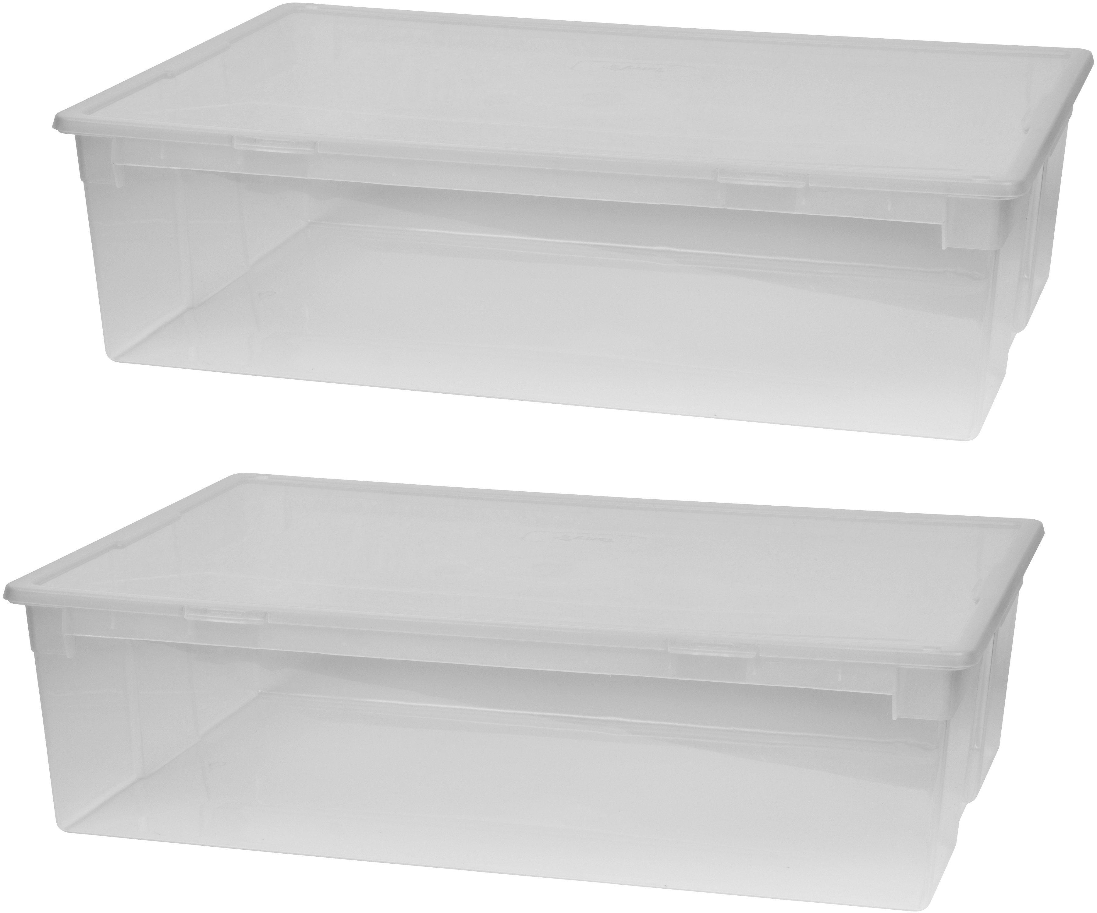KREHER Aufbewahrungsbox »2x 22 Liter, mit Deckel« 2er Set | Dekoration > Aufbewahrung und Ordnung > Kästchen | Kreher