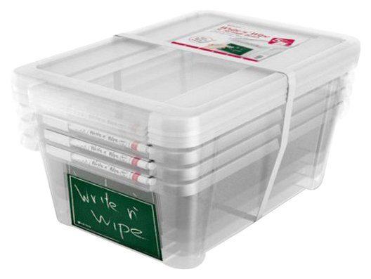 KREHER Aufbewahrungsbox »4x 11 Liter, mit Deckel und beschreibbarem Feld« 4er Set
