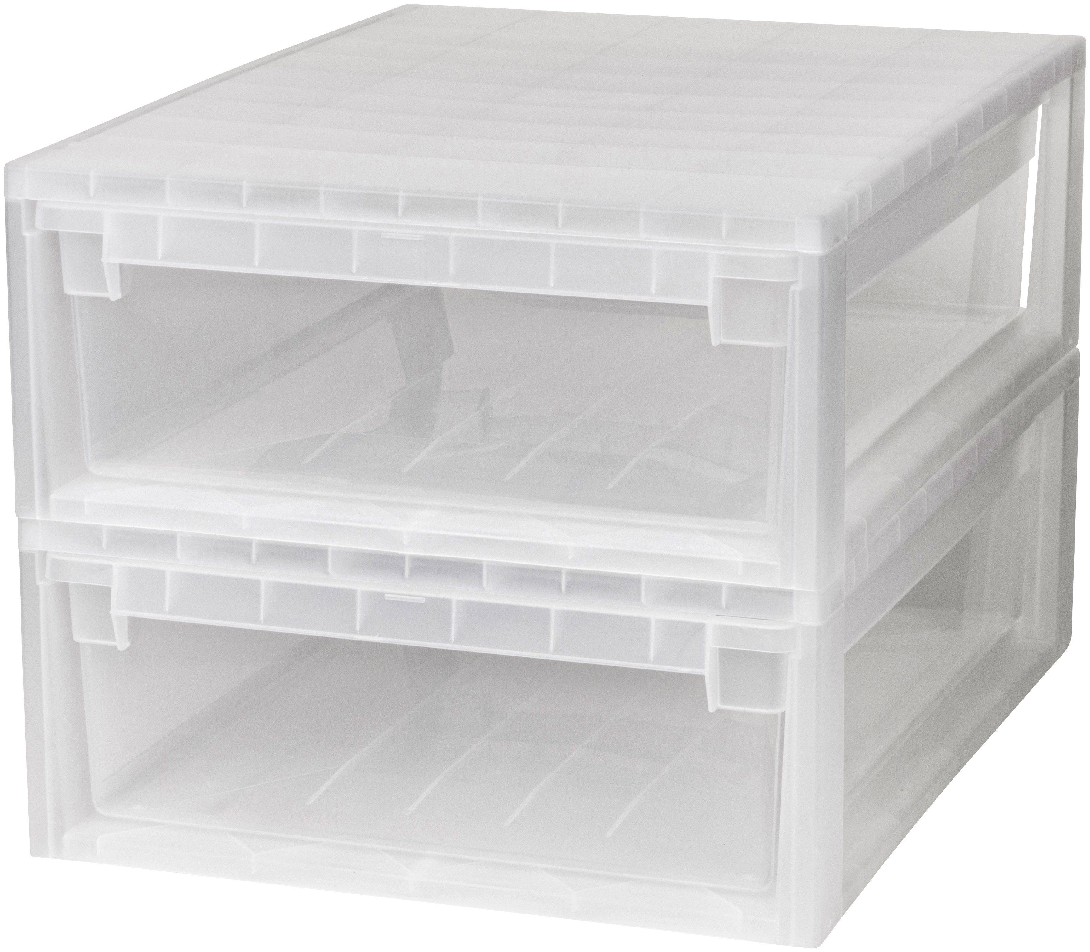 KREHER Aufbewahrungsbox »2x 22 Liter, mit Schubladen« 2er Set