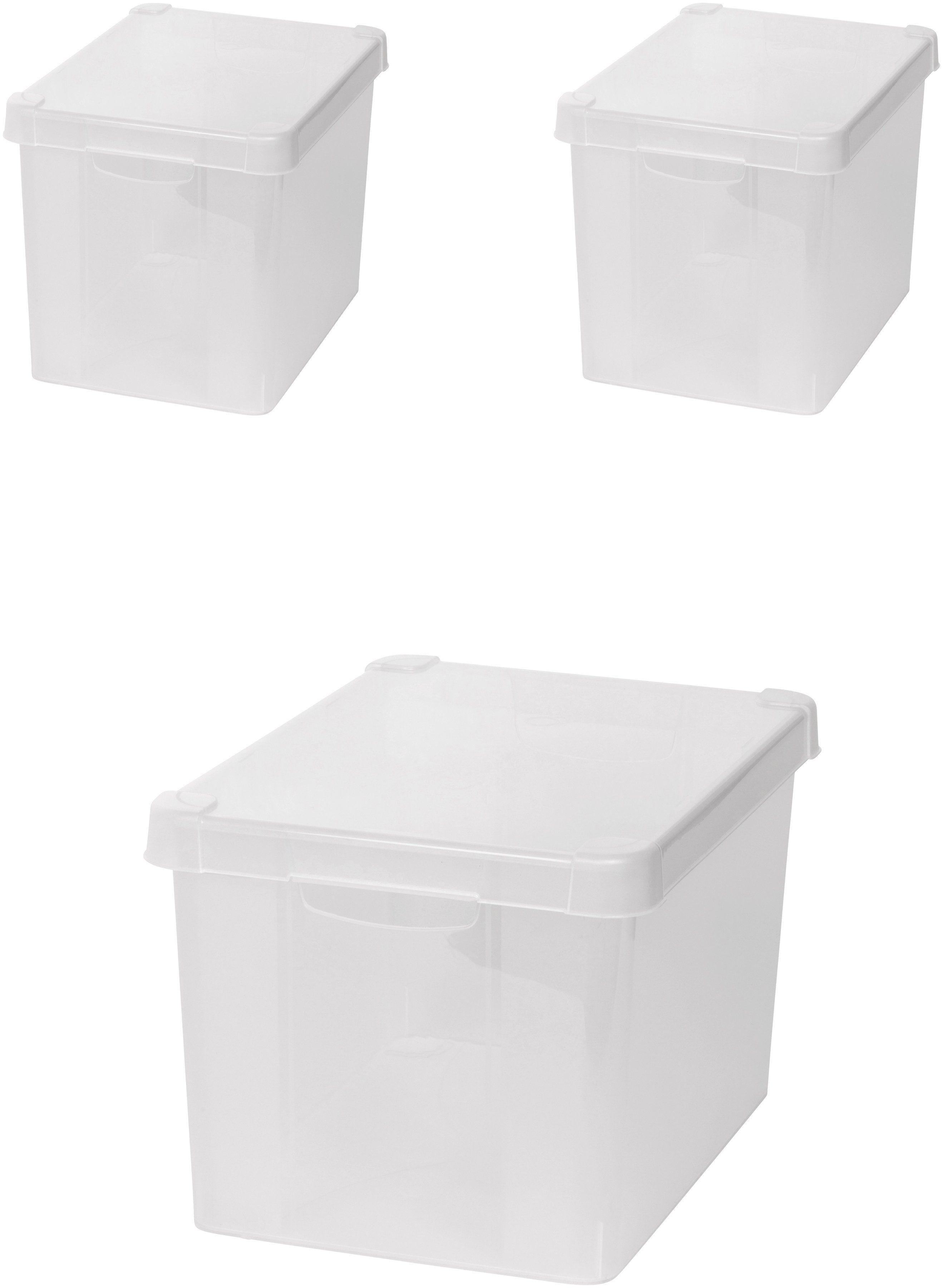 KREHER Aufbewahrungsbox »3x 20 Liter, mit Deckel« 3er Set