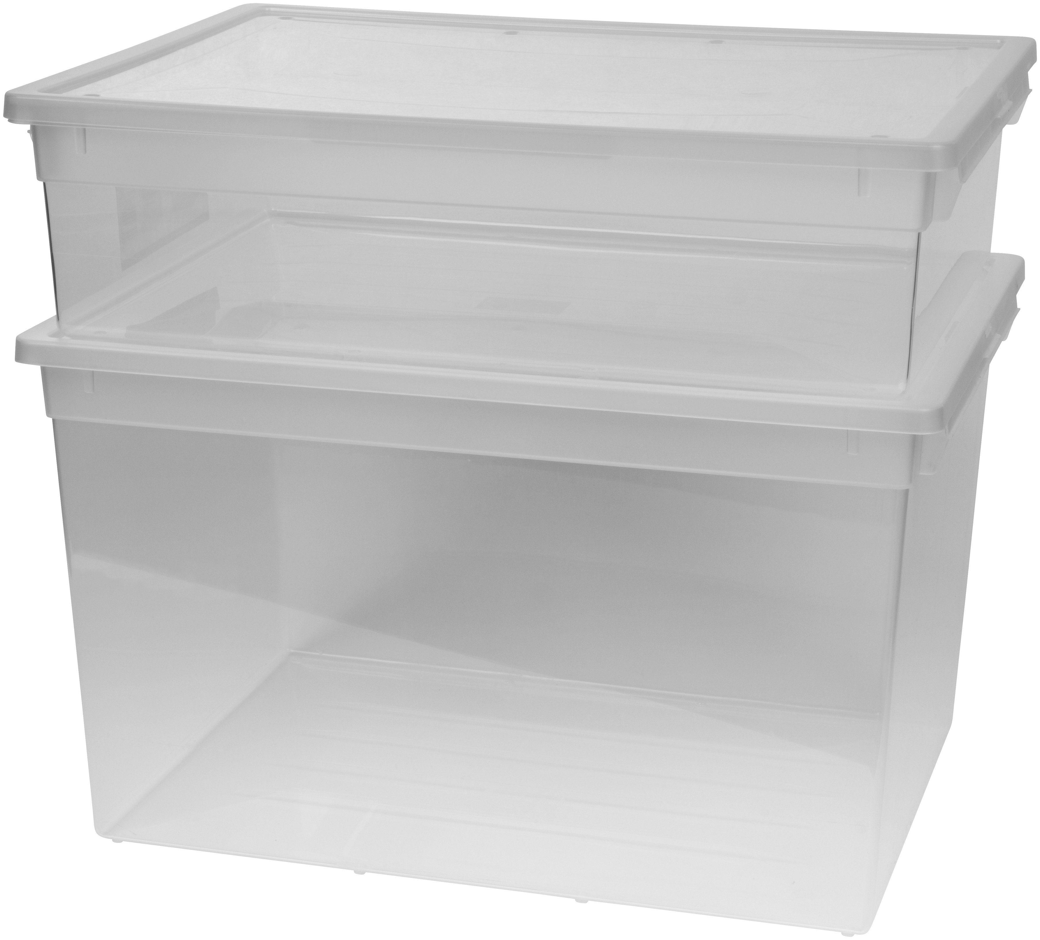 KREHER Aufbewahrungsbox »1x 22 Liter, 1x 50 Liter, mit Deckel« 2er Set