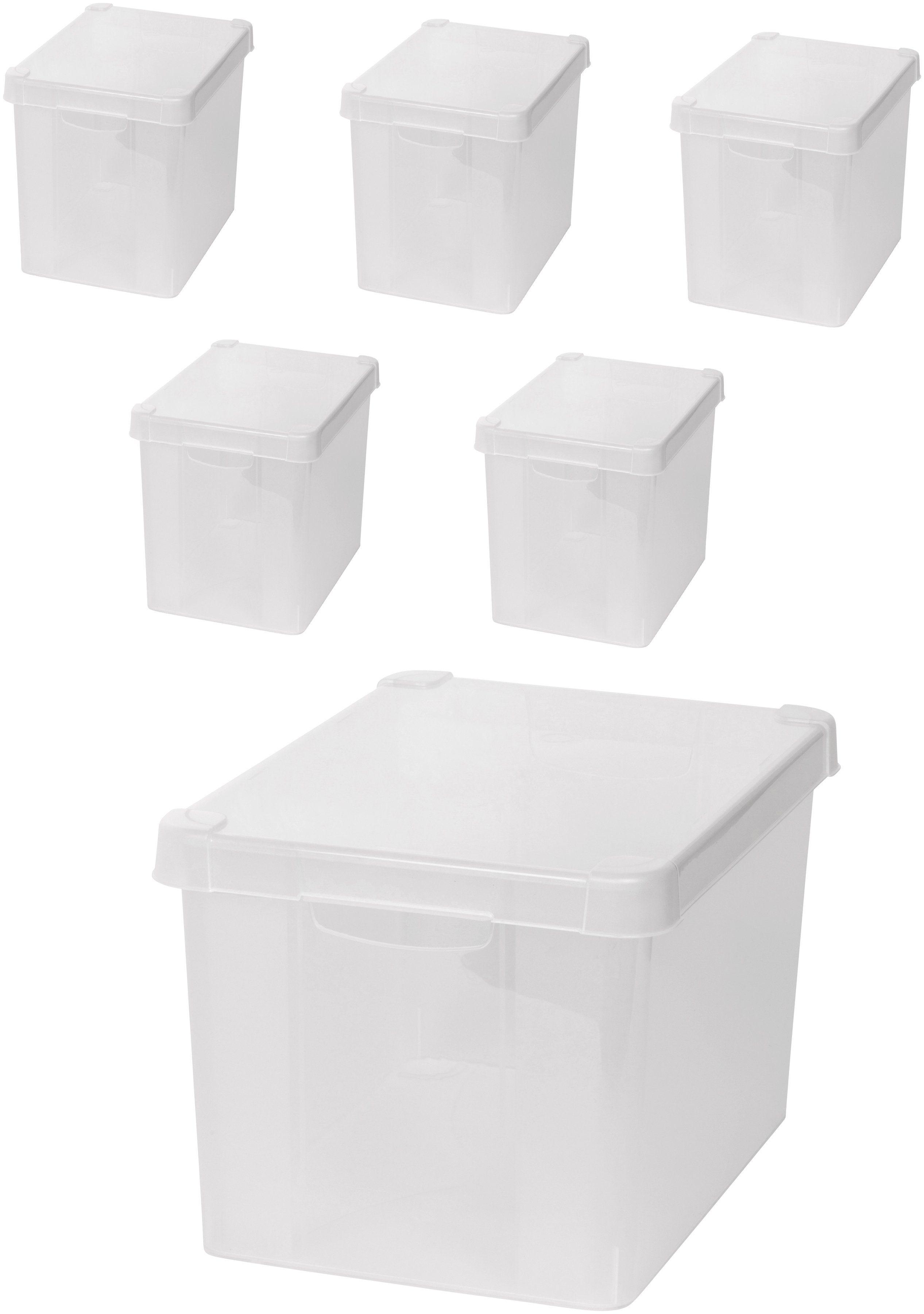 KREHER Aufbewahrungsbox »6x 20 Liter, mit Deckel« 6er Set