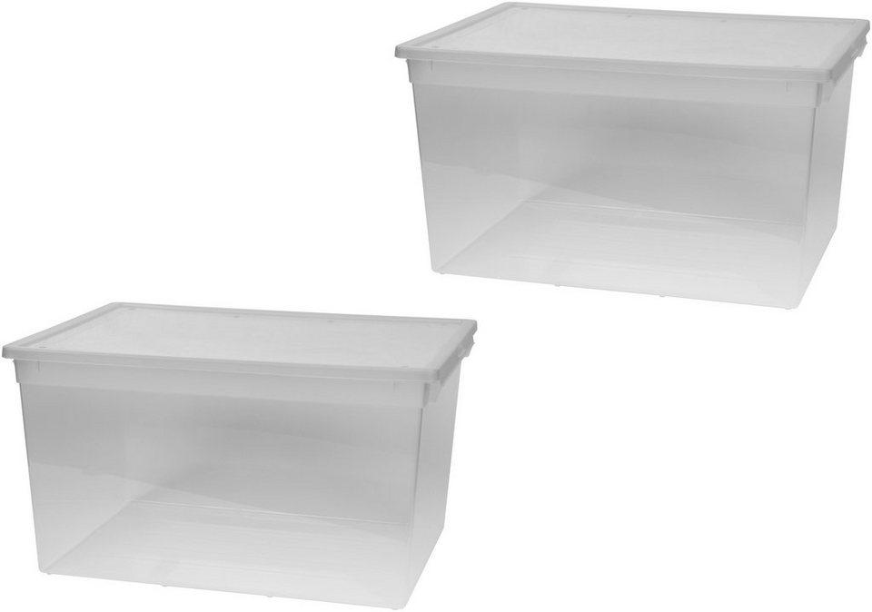 kreher aufbewahrungsbox 2x 48 liter mit deckel 2er set online kaufen otto. Black Bedroom Furniture Sets. Home Design Ideas