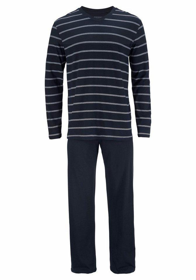 93d73f8ec31e9f Schiesser Ringel Pyjama lang, V-Ausschnitt online kaufen | OTTO