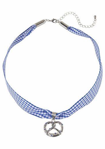 J.Jayz Choker »kariert, mit Brezelanhänger blau/weiß, Wiesn, Trachten« (1-tlg), mit Swarovski-Kristallen