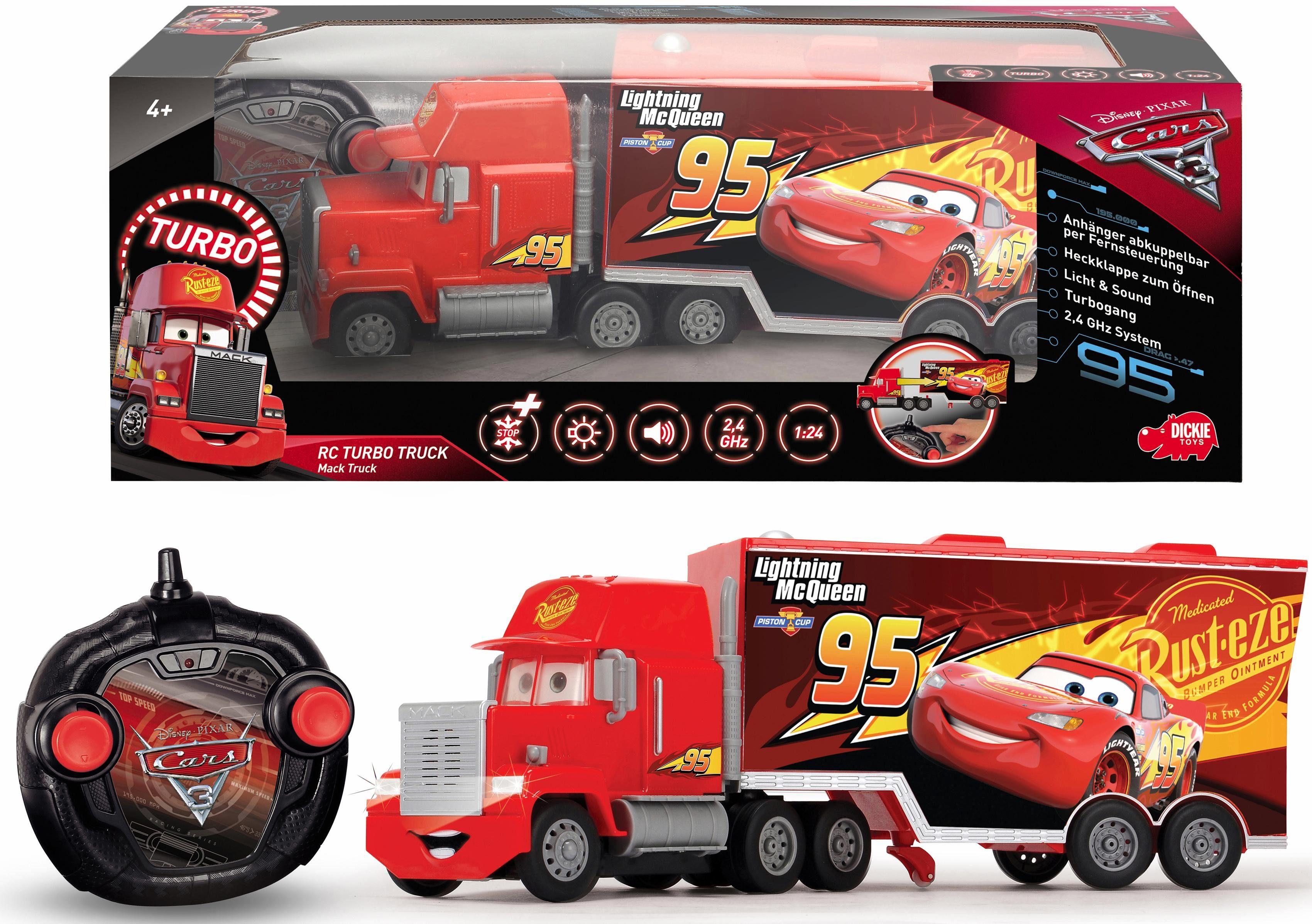 Dickie Toys RC LKW mit Licht und Sound, »Disney Pixar Cars 3, Turbo Mack Truck«
