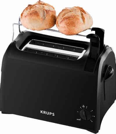 Krups Toaster Pro Aroma KH1518, 2 kurze Schlitze, für 2 Scheiben, 700 W, Krümelschublade, 6 Bräunungsstufen, Hebe-Funktion