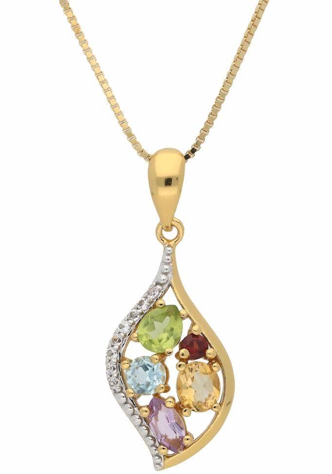 Vivance jewels Kette mit Anhänger, mit Topas, Topas (behandelt), Peridot, Granat, Citrin, Amethyst