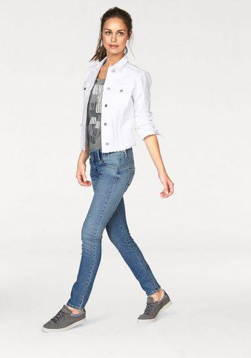 Cross Jeans® Jeansjacke, kurze Form mit ausgefranstem Saum