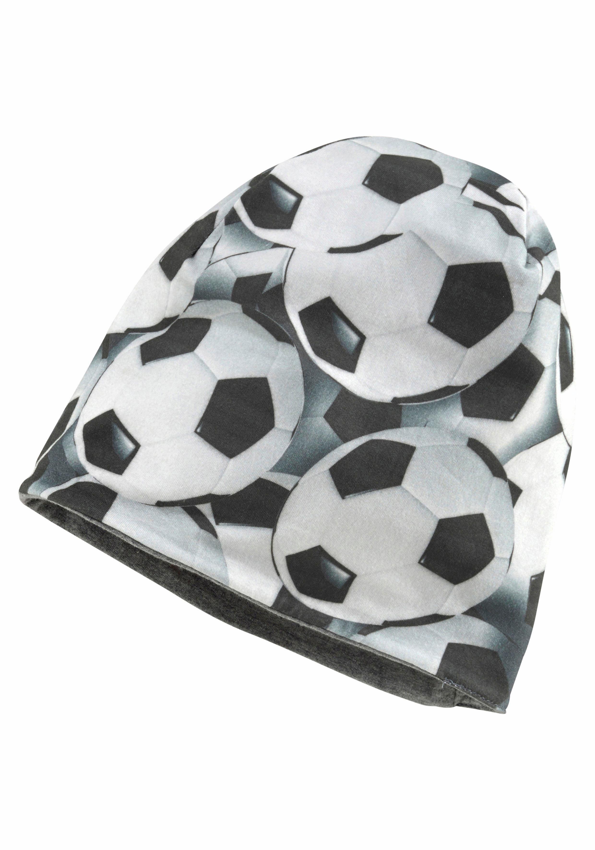 Sterntaler Jungen Strickmütze mit Fußballprint Slouch Beanie grau
