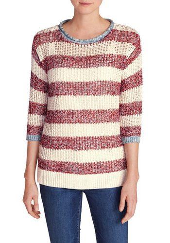 Damen Eddie Bauer 3/4 Arm-Pullover Beachside Pullover gestreift rot | 04057682101033