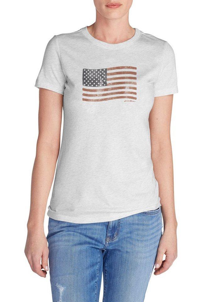 Damen Eddie Bauer  T-Shirt T-Shirt bedruckt Klassische Flagge grau | 04057682217123