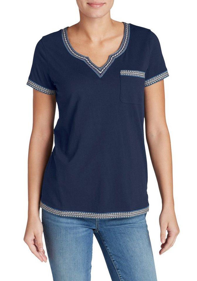 Damen Eddie Bauer T-Shirt T-Shirt mit Stickerei blau | 04057682085821