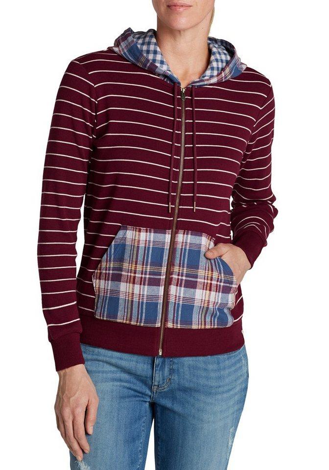 Damen Eddie Bauer  Sweatshirt Mehrfarbige Kapuzensweatjacke rot | 04057682015927