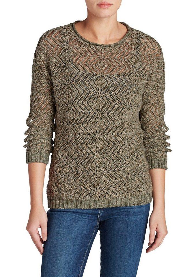 Damen Eddie Bauer  Strickpullover Pullover uni grün | 04057682066202
