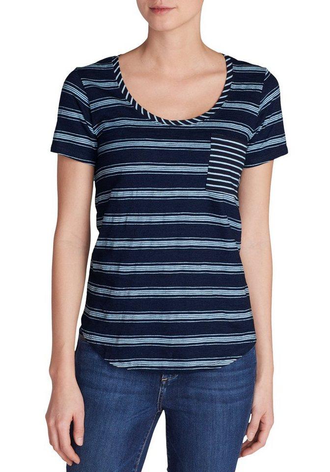 Damen Eddie Bauer  T-Shirt Gypsum T-Shirt mit Tasche – breit gestreift blau | 04057682104621
